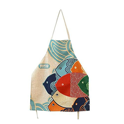 FSK Lovely Cartoon Pattern Apron Burlap Cotton Women Apron Chef Kitchen Cooking Apron Bib
