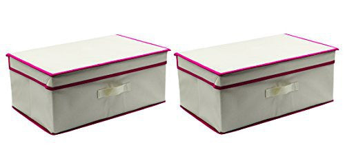 ESYLIFE Folding Closet Storage Box Containers with Lid 17.5 x 11.75 x 7.5 inch,Set 2