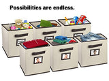 LAST MINUTE DEAL!! Hangorize Collapsible Fabric Cubicle Storage Bins, Classic Beige, 6 Pack, with Handy Label Window to Make Identifying Contents Easy. Set Includes 6 Foldable Storage Cube Basket Bins