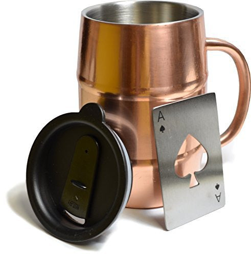 HADES Copper-Plated Stainless Steel 17-Ounce Insulated Mug with Lid and Ace of Spades Bottle Opener