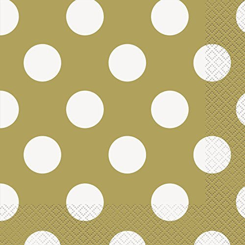 "Polka Dot Party Napkins, 6.5"" x 6.5"", Gold, 16 Count"