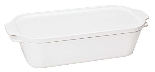Paderno World Cuisine White Ceramic Terrine Mold with Lid, 1 3/4-Quart
