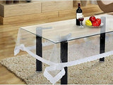 Kuber Industries Transparent Dining Table Cover 6 Seater 60*90 Inches (Silver Lace)
