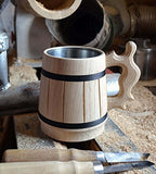 Handmade Wood Mug 0.6L 20oz Natural Stainless Steel Cup Men Gift Eco-Friendly Souvenir Retro Brown