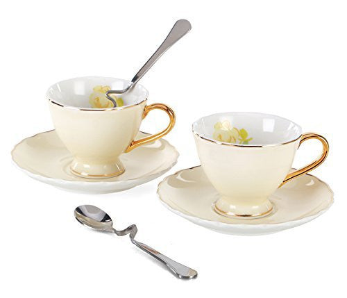 Jusalpha Porcelain Coffee Bar Espresso Cups and Saucers Set, 3-Ounce FD-TCS02 (Set of 2, Yellow)