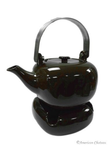 Modern Tea Warmer Candle Porcelain & Brown Teapot with Infuser Pot Strainer
