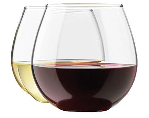 Royal Stemless Wine Glass Set, 4-Pack, 15 Ounce Wine Tumbler Set, Glass