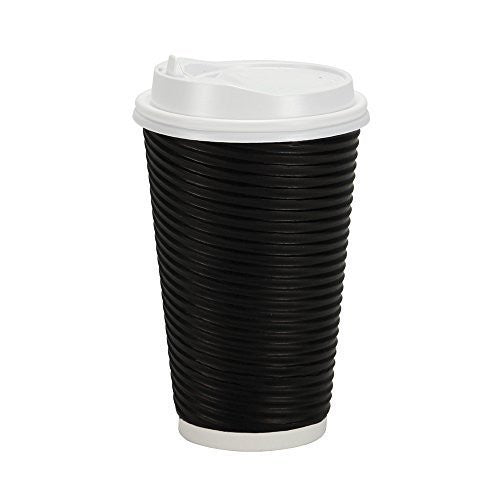 PREMIUM Disposable Hot Paper Cups With Lids| Double Wall & Ripple Insulation For Heat Protection| Perfect For Your Coffee/Tea/Espresso| Birthday/Party/Restaurant Supplies 30 Count (16 oz., Black)