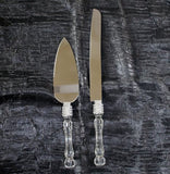 Lolasaturdays Wedding Party Cake Knife Server Set with Faux Crystal Handle and diamond accents