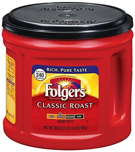 Folgers Classic Roast Ground Coffee, 30.5 oz