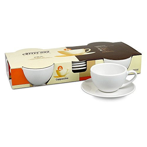 Konitz Coffee Bar Cappuccino Cups and Saucers, 6-Ounce, White, Set of 4