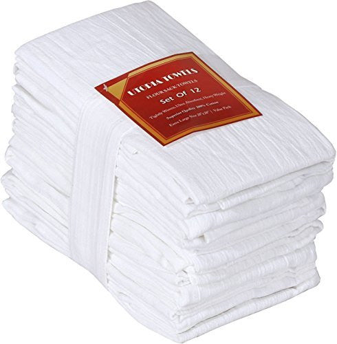 Flour-Sack-Towels ( 12 Pack - 28 x 28 Inch ) Pure Cotton Dish-Cloth Kitchen-Towels - by Utopia Kitchen