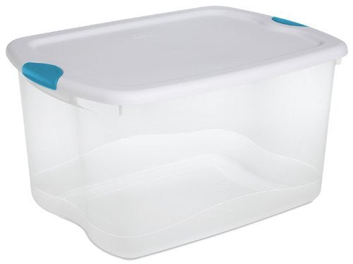 Sterilite 18888004 66 Quart/62 Liter Latch Box, See-through Base with White Lid and Blue Aquarium Latches, 4-Pack