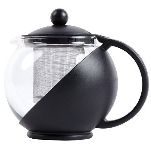 Tempered Glass 3-Cup Tea Pot w/ Removable Steel Infuser, 25 Fluid Ounces by Pride Of India