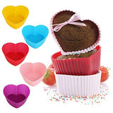 GreKitchen Baking cups/Silicone Baking Cups/ muffin baking cup/Cupcake liners­ Reusable and Nonstick Heat Resisitant/Rainbow Bright Standard 12-pack Heart-Shaped baking set
