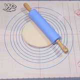 Rolling Pin, YYP Non-Stick Silicone Surface Rolling Pin, Wooden Rolling Pin Handle for Rolling Dough, Baking, Small Size