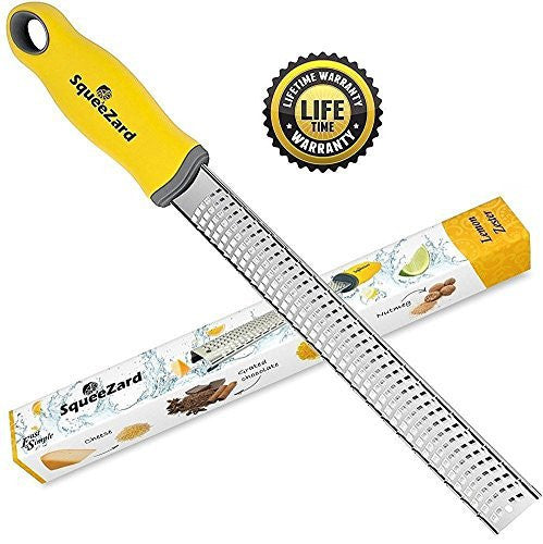 Lemon Zester - Cheese Grater - Professional Kitchen Tool - Stainless Steel Blade for Citrus, Parmesan Cheese, Garlic, Nutmeg, Ginger - Squeezard - Yellow Handle