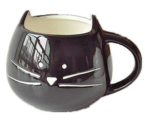 OliaDesign Cat Coffee Milk Ceramic Mug Cup, Black