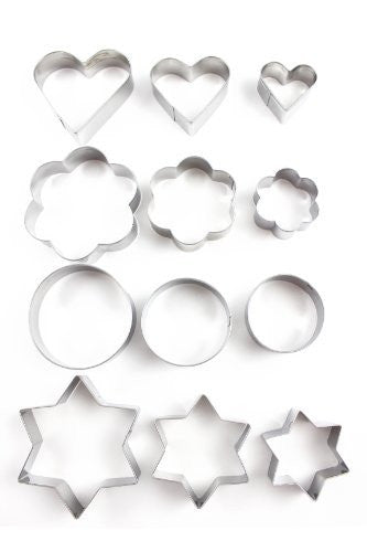 Home Value 12pc Metal Cookie Cutters: 3 Stars Shape, 3 Flowers Shape, 3 Round Shape, 3 Hearts Shape Model: (Home & Kitchen) Silver