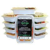 Meal Prep Storage Containers with lids by CinchWares, White, 38-Ounce, BPA-Free, Reusable, Microwavable, 10 Pack