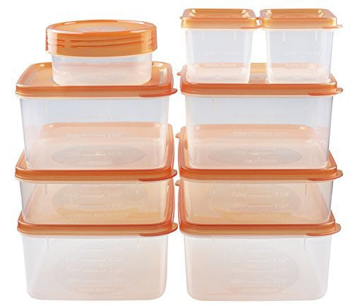 hölm BPA Free Reusable Square Food Storage Containers With Lids (Orange) - Leak Proof - Great For Meal Prep , Dressing, Baby or Gourmet Foods - 9 PCS Set