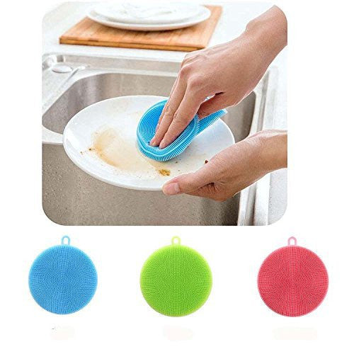 Heat Resistant Mat, Shinefuture Multipurpose Silicone Washing Brush, Fruit and Vegetable Washer, Heat-resistant Mat Gloves,Drink Coatsers,Kitchen Wash Tool, Set of 3