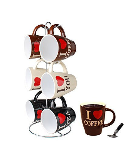 Home Basics Mug Set with Stand, 6 Piece