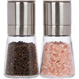 Gourmet Salt & Pepper Mill Set - Stainless Steel & Glass - Adjustable Manual Grinder
