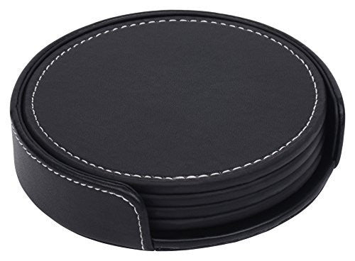Leatherette Coaster Set - Set of Four Black Coasters With Holder - By Monarch Housewares (1, Black)