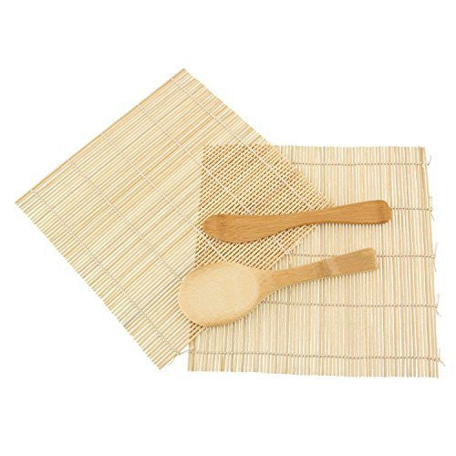 JapanBargain 1 x Sushi Rolling Kit, 2 x Rolling Mats, 1 x Rice Paddle, 1 x Spreader, Natural