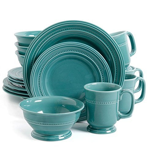 Gibson Elite Barberware 16 Piece Dinnerware Set, Turquoise