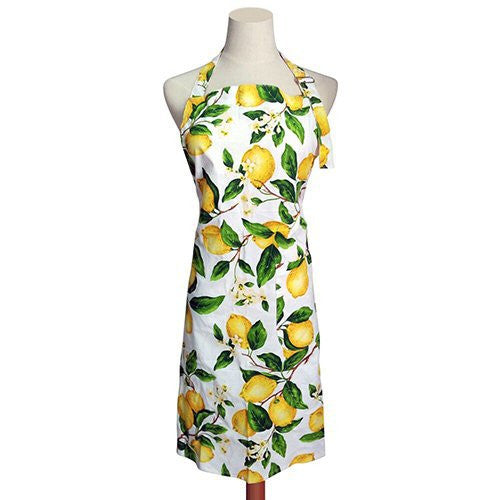 G2PLUS Adjustable Women's Kitchen Apron Thin Cotton Cooking Baking Garden Chef Apron with Pocket Great Gift for Wife Ladies Lovely Lemon Tree Floral (Lemon)