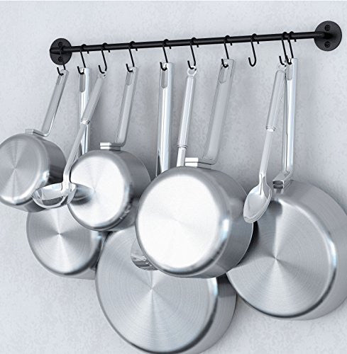 Steel Gourmet Kitchen 24 Inch Wall Rail and 10 S Hooks Set Utensil Pot Pan Lid Rack Storage Organizer Black Color