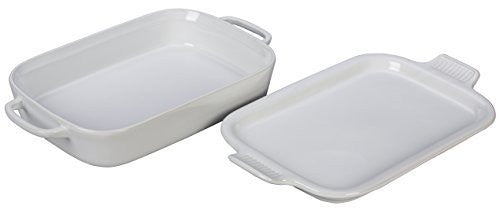"Le Creuset Stoneware Rectangular Dish with Platter Lid, 14 3/4"" x 9"" x 2 1/2"", White"