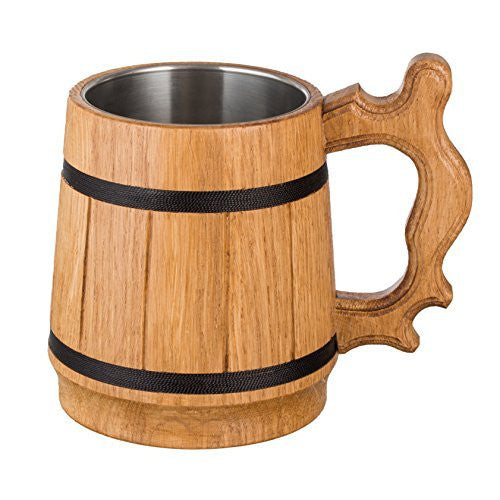 Handmade Mug Oak Wood 0.6L 20oz Stainless Steel Cup Gift Natural Eco-Friendly Retro Beige