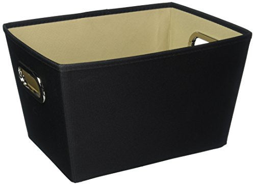 Honey-Can-Do Decorative Storage Bin with Chrome Handles, Medium, Black