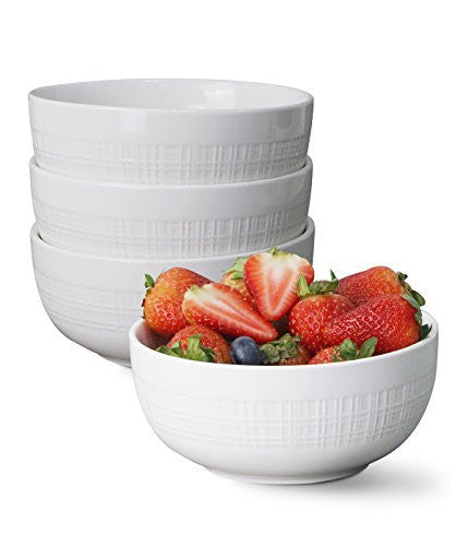 Porcelain Bowls - Set of 4 - 17 Ounce for Cereal / Soup, Plaid Pattern, White - by Sweese