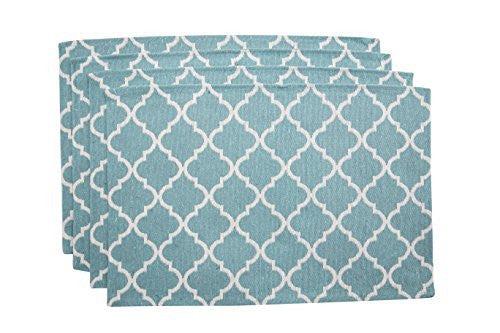 "Living Fashions Washable Woven Quatrefoil Placemats (13"" x 19"") Non-slip Table Mats for Kitchen Dining, Set of 4, Color Teal Blue"