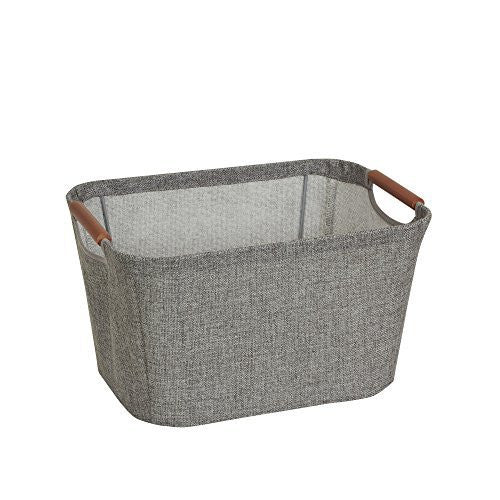 Household Essentials 623 Small Tapered Soft-Side Storage Bin with Wood Handles, Gray
