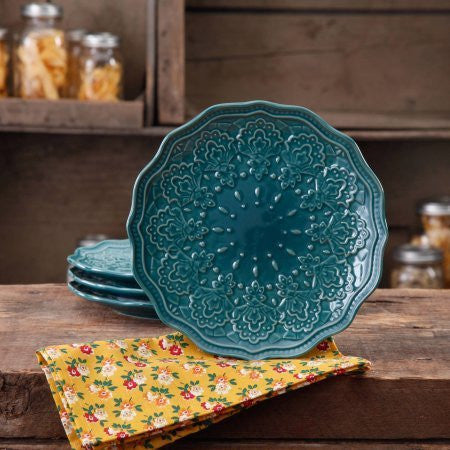 The Pioneer Woman Farmhouse Lace Salad Plate Set, 4-Pack (Blue)