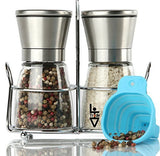 LHVTrade Salt and Pepper Grinder Set - Upgraded Luxury Brushed Stainless Steel Mills with Matching Stand | Adjustable Coarseness | - Easy Fill Folding Funnel and an eBook