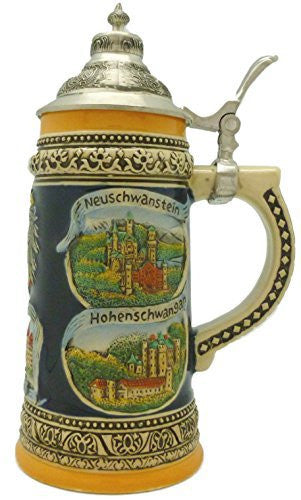 Engraved Ceramic Beer Stein German Landmarks with Ornate Metal Lid