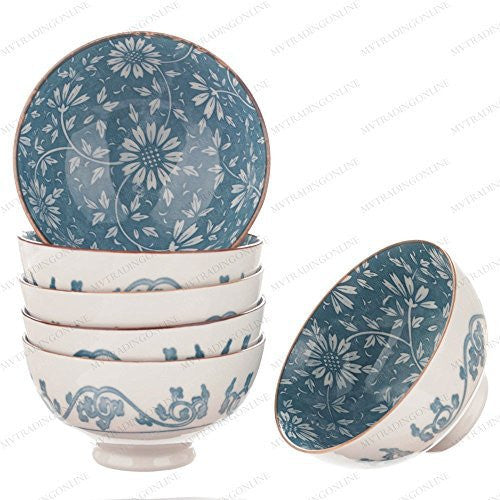 M.V. Trading NS2004 Japanese Blue and White Rice Bowls Design, 8-Ounces, 4½-Inches, Set of 6