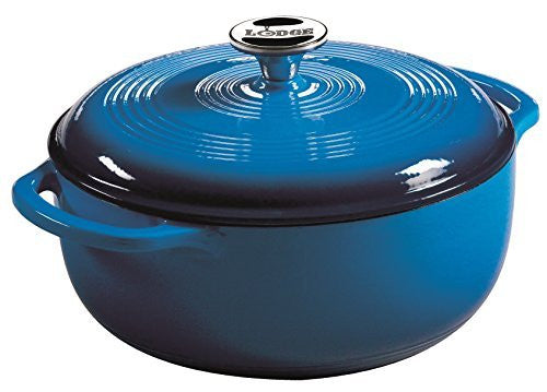 Lodge EC4D33 Enameled Cast Iron Dutch Oven, 4.5-Quart, Caribbean Blue