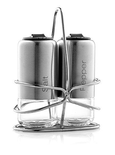 Home Fashions Set of 2 Salt and Pepper Shakers, Grinder Designed with Glass Bottom and Stainless Steel, Comes with Metal Stand