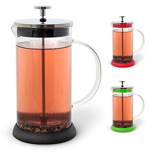 Teabloom NEW French Press 34 oz, All Glass Body Tea and Coffee Press, Stainless Steel Tea & Coffee Maker (Black)