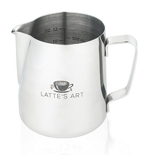 Latte's Art Stainless Steel 12 Ounce Frothing Pitcher! Couple with Your Espresso Machine or Frother. Bonus Drawstring Bag Included! Steam & Froth Milk for Perfect Lattes & Cappuccinos