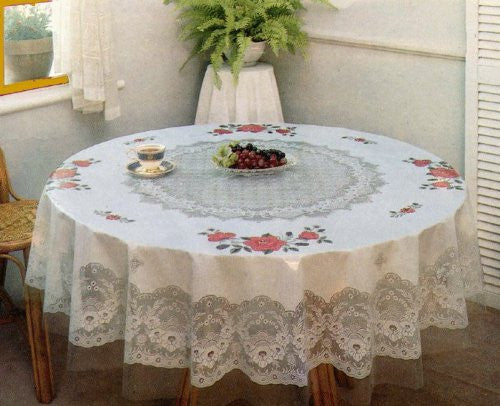 Tablecloth, Floral, Vinyl Printed 60 Inches Round