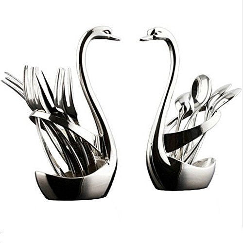 Jorunhe Stainless Steel Swan Base Dinnerware Set (Set of 2)