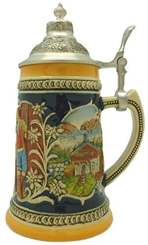 Engraved Beer Stein Alpine Pub Metal Lid